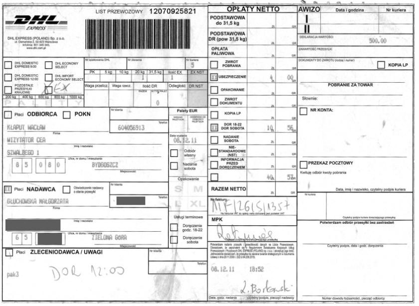 Dowód nadania przesyłki kurierskiej DHL, list Małgorzaty Głuchowskiej do Wacława Kłaputa, wizytatora Centrum Edukacji Artystycznej w Ministerstwie Kultury, 8 grudnia 2011