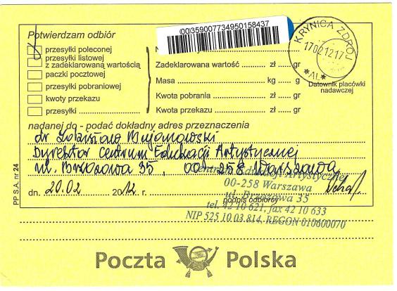Małgorzata Głuchowska, list do Zdzisława Bujanowskiego, dyrektora Centrum Edukacji Artystycznej, Ministerstwo Kultury, 17 Lutego 2012, potwierdzenie odbioru listu poleconego, strona 2