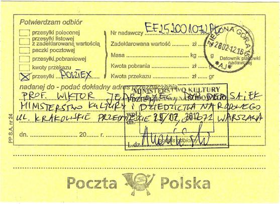 Małgorzata Głuchowska list do Wiktora Jędrzejca, Dyrektora Departamentu Szkolnictwa Artystycznego i Edukacji Kulturalnej, Ministerstwo Kultury, potwierdzenie odbioru, 28 lutego 2012, strona 2