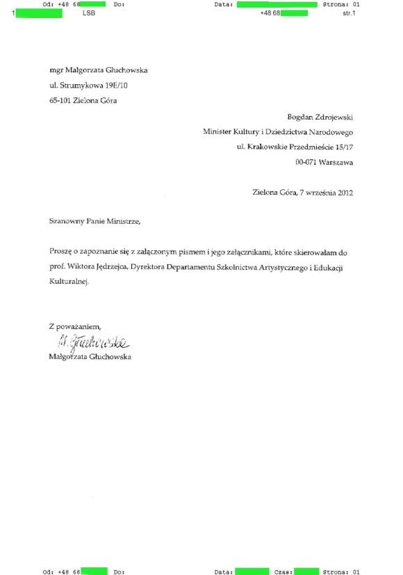 Małgorzata Głuchowska, fax do Bogdana Zdrojewskiego, Ministra Kultury 26.09.2012, strona 1