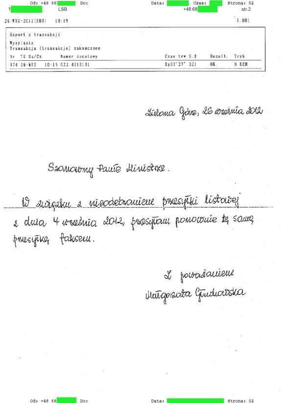 Małgorzata Głuchowska, fax do Bogdana Zdrojewskiego, Ministra Kultury 26.09.2012, strona 2