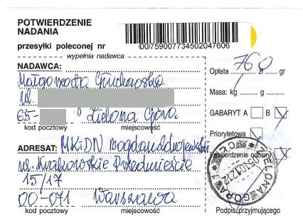 Małgorzata Głuchowska, list polecony. potwierdzenie nadania, Bogdan Zdrojewski, 5 października 2010, strona 1