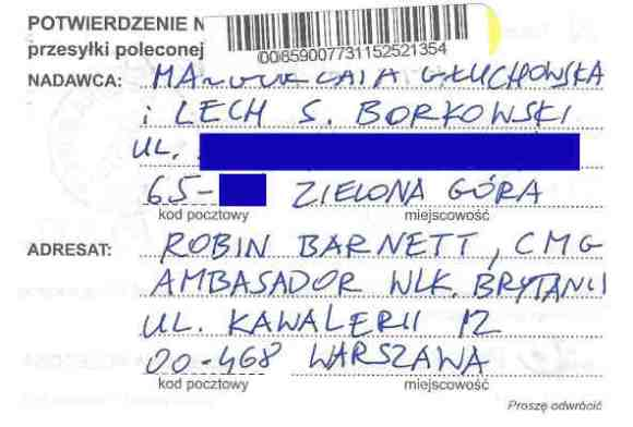 Proof of mailing, certified mail, letter from Małgorzata Głuchowska and Lech S Borkowski to UK Ambassador in Warsaw Robin Barnett, 2 April 2016, page 1