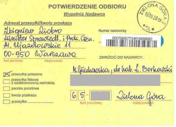 Potwierdzenie dostarczenia listu poleconego, nadawcy: Małgorzata Głuchowska i dr hab. Lech S Borkowski, obdiorca: Prokurator Generalny Zbigniew Ziobro, 10 maja 2016, strona 1