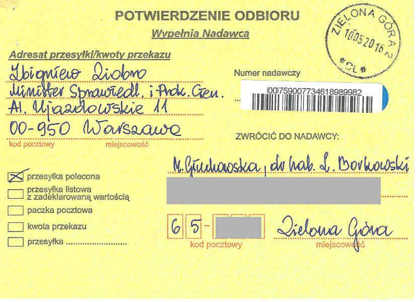 Confirmation of delivery of certified letter from Małgorzata Głuchowska and Lech S. Borkowski to Prosecutor General of Poland Zbigniew Ziobro, 10 May 2016, page 1; Potwierdzenie dostarczenia listu poleconego, nadawcy: Małgorzata Głuchowska i dr hab. Lech S Borkowski, obdiorca: Prokurator Generalny Zbigniew Ziobro, 10 maja 2016, strona 1