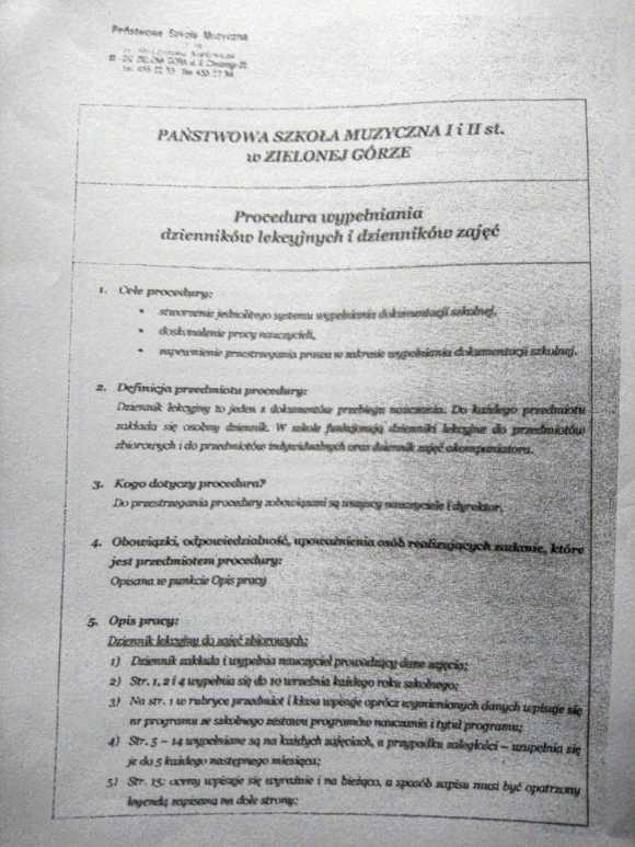 Fałszywy dokument procedury wypełniania dzienników szkolnych, strona 1, Państwowa Szkoła Muzyczna w Zielonej Górze, maj 2012