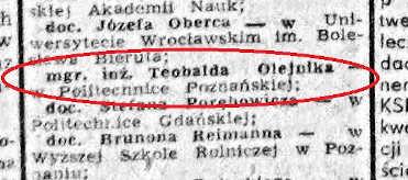 mgr inż. Teobald Olejnik nominacja na profesora, Trybuna Ludu, 25 września 1963
