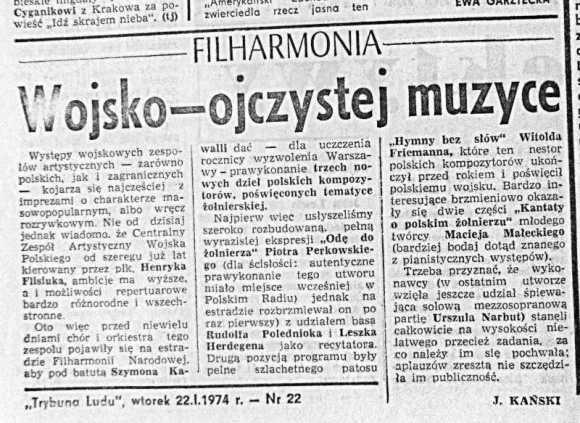 Trybuna Ludu, 22 stycznia 1974, Wojsko - ojczystej muzyce. J. Kański