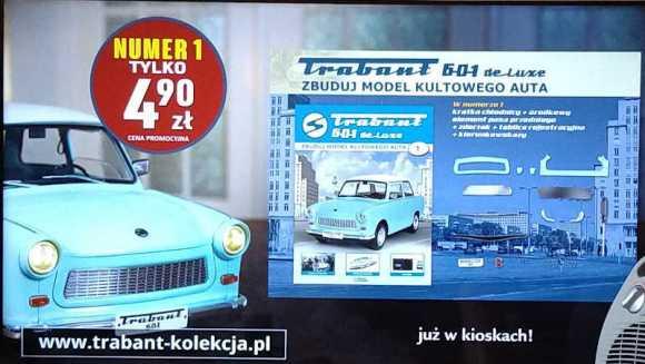 The Trabant model kit advertised on Polish Polsat News tv channel, 5 August 2020