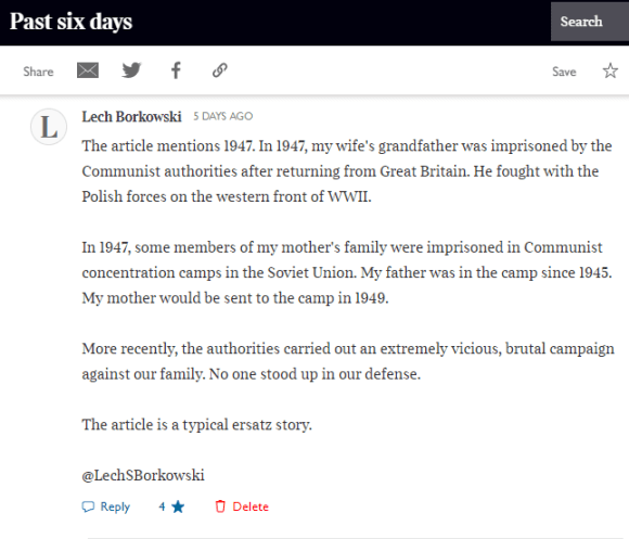 Lech S Borkowski comment in The Times 7 December 2020
