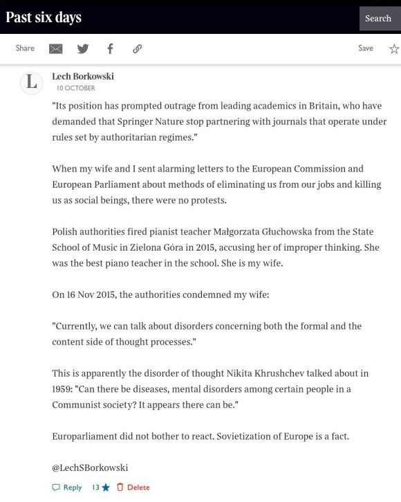 Lech S Borkowski comment The Times 10 October 2020