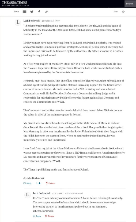 Lech S Borkowski The Times 28 October 2020