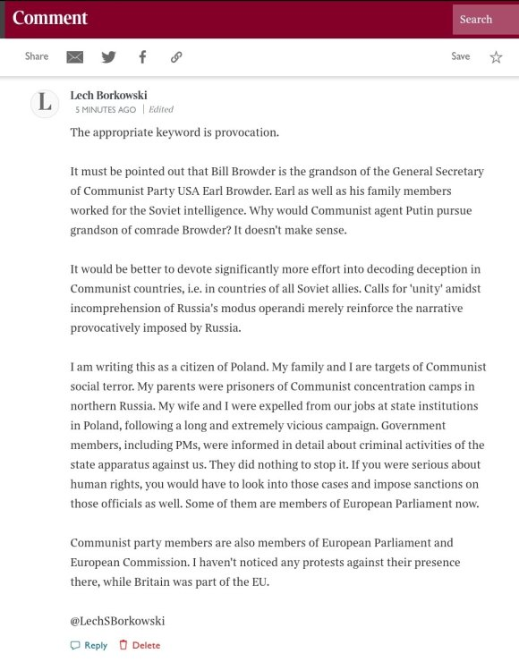 Lech S Borkowski comment in The Times 21 January 2021