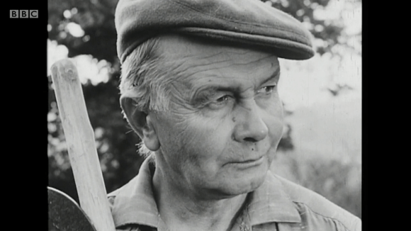 Włodzimierz Bułaj, electrician, former Polish Army WWII soldier, at the Penygaer Farm in Carmarthenshire, Wales, in 1960 documentary Borrowed Pasture
