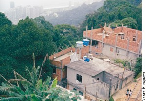 New concrete and brick houses in Rocinha, the largest favela in Brazil located on the hillside of Rio de Janeiro