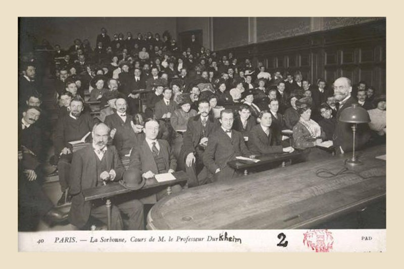 Emile Durkheim, professor and founder of French Sociology, at the Sorbonne, in the Guizot amphitheatre, in early 1900. Nubis Digital Library