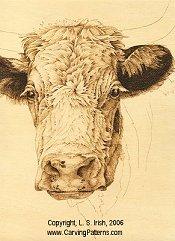 cow pattern animal fur wood carving