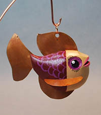 painted fish decoy wood carving by Lora S Irish