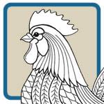 Hens, Roosters, Chicken Line Art Patterns by Lora S Irish