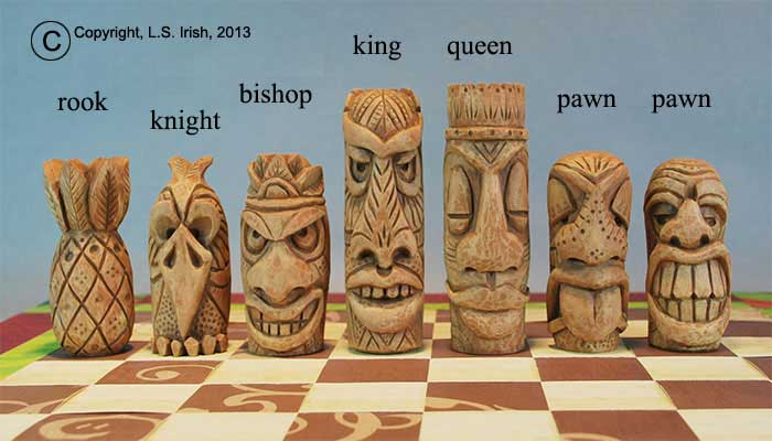 Tiki chess set beginner s wood carving project by lora s irish