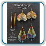 Flamed, hammered copper earring jewelry instructions by Lora S Irish