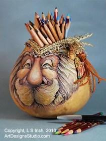 Wood Spirit Gourd Art by Lora Irish