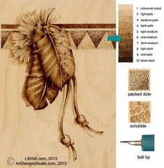 detailing and outlining a pyrography wood burning