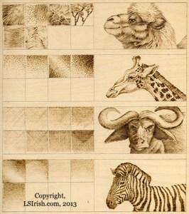 art styles of pyrography by Lora Irish