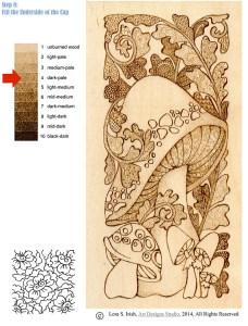 Pyrography Doodle Mushroom by Irish, step 8