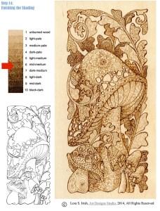 Pyrography Doodle Mushroom, step 14