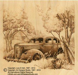 Old car wood burning by Lora Irish