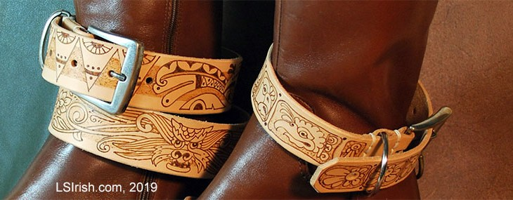 Pyrography Leather Boot Belt Project