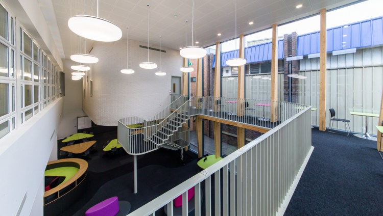 View of staircase and railings by LSJ Engineering at Sarah Bonnell School, London
