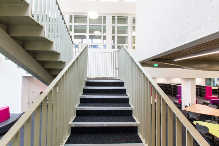 staircase in Sarah Bonnell School, London