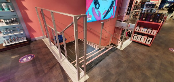 Upstairs steel staircase at Harmony, Oxford Street, London, by LSJ Engineering Essex