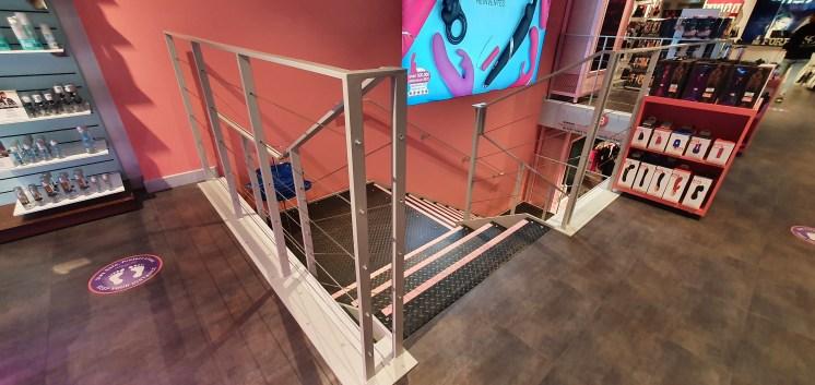 Upstairs steel staircase at Harmony, Oxford Street, London, by LSJ Engineering Essex