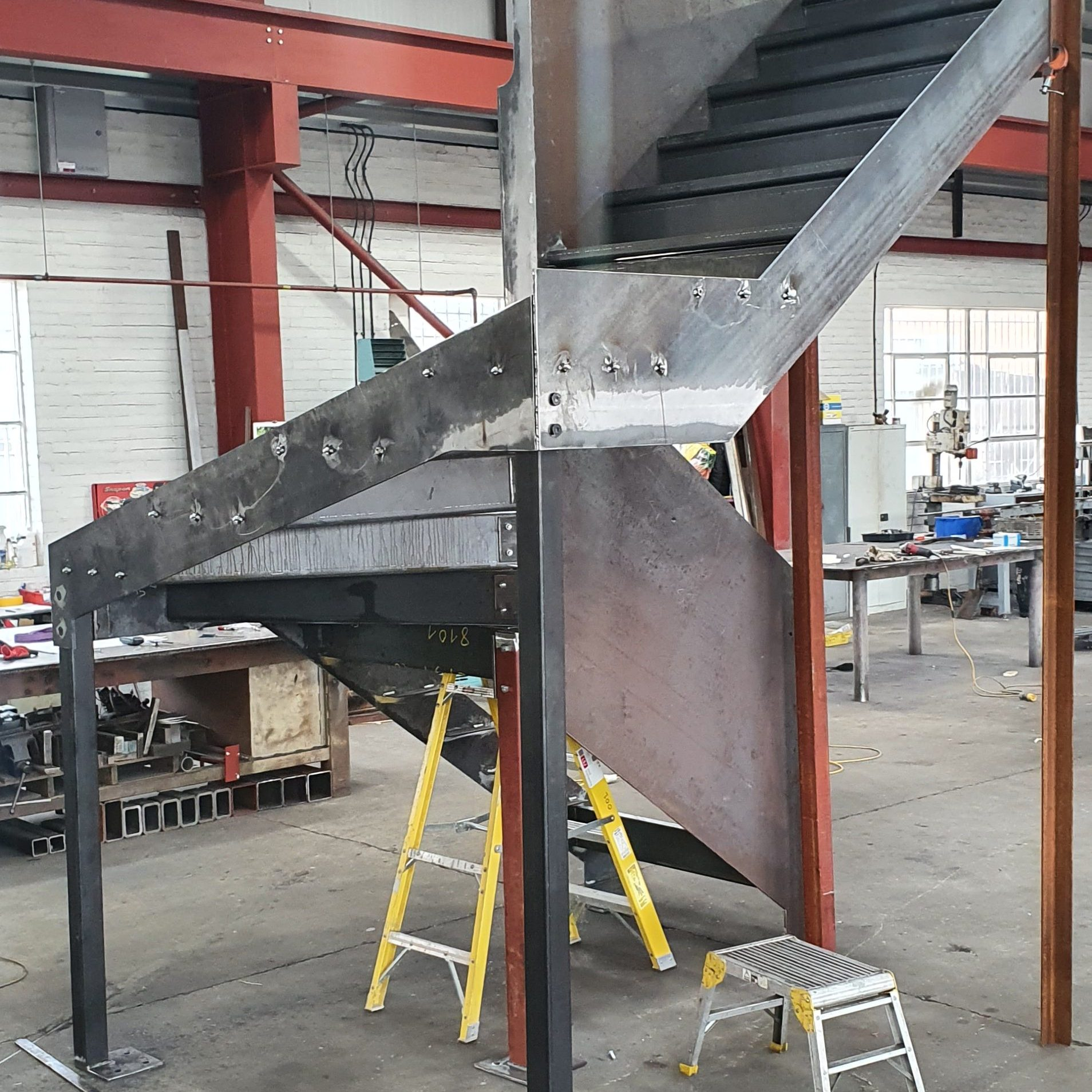 manufacture of feature staircase in Berners St, London, by LSJ Engineering