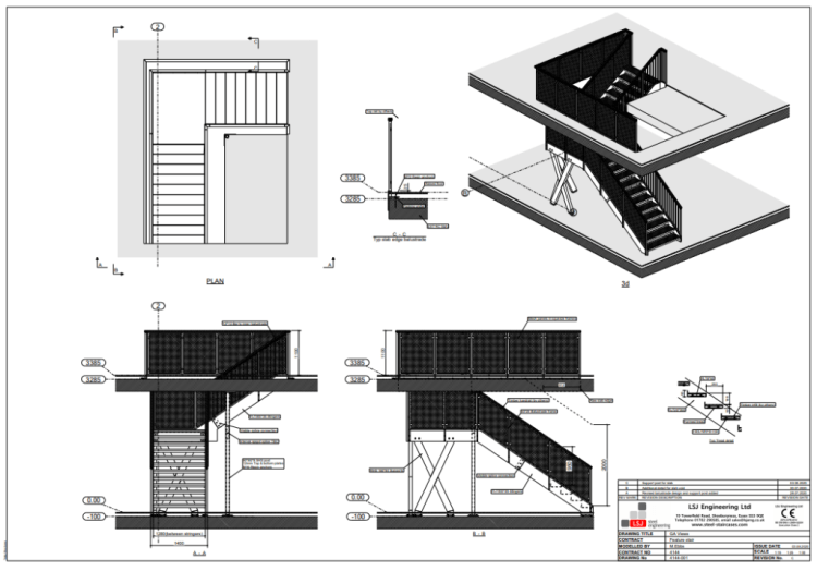plans for feature staircase for Xero Kings Cross London, by LSJ Engineering