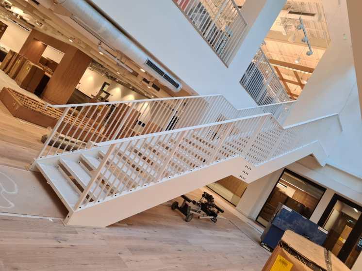 steel staircase installed at WeWork, Blackfriars Bridge, London