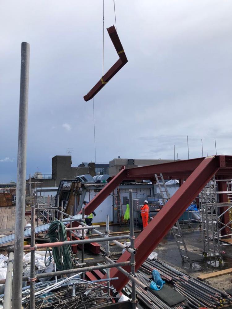 steel work on crane, Mortimer St, London