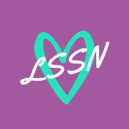LSSN logo, a teal heart and white letters reading LSSN through the heart with a purple background.