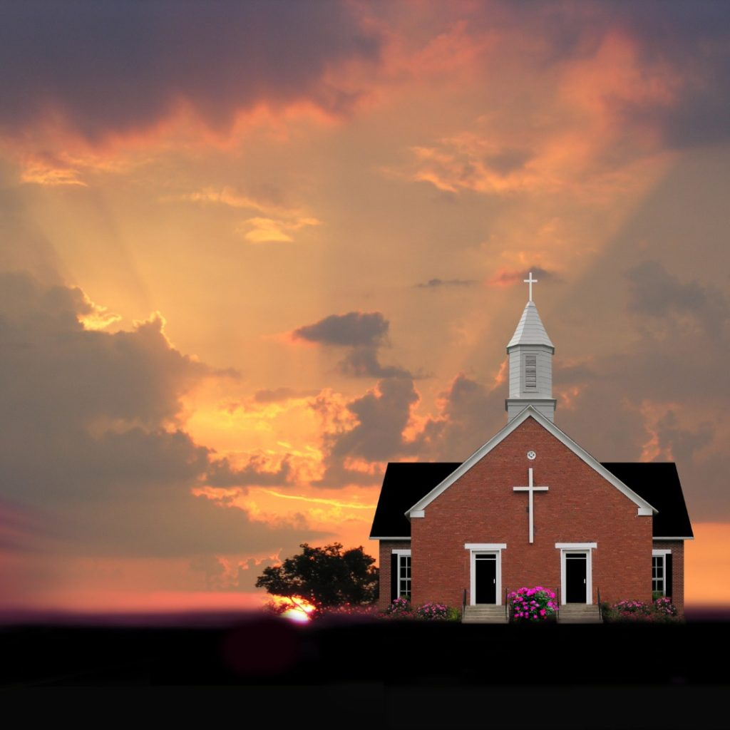 Image of a church at sunrise representing Carrie's background of growing up with a Christian upbringing where sex wasn't really discussed.