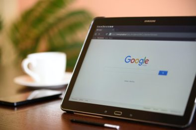 Image of a tablet with the Google search bar open up on a desk. This image represents Jen's search to figure out what was going on with her symptoms. Unfortunately, he Google led to her thinking she had vulvar cancer, only adding more stress to her plate.