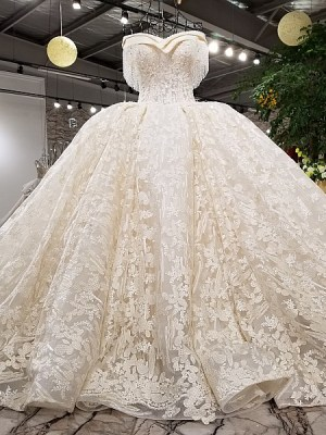 Sweetheart Ball Gown Bedding Appliques Wedding Dress 2018