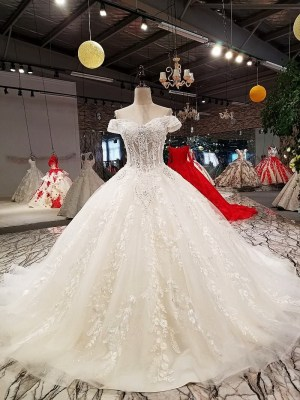 Off shoulder Ball Gown Illusion Wedding Dress 2018