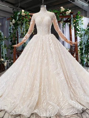 Illusion Lace Sequined Wedding Dresses