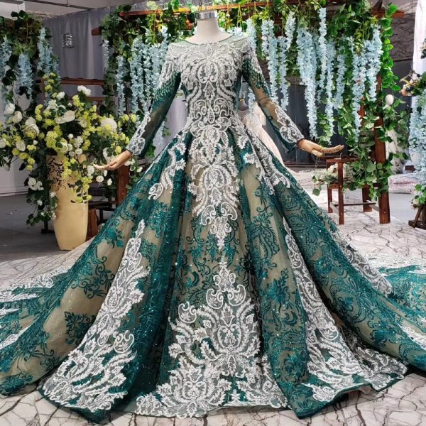 lace long sleeve luxury evening dress