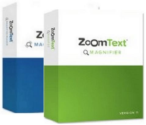 אריזות של תוכנת ZoomText , אריזה ירוקה להגדלה, אריזה כחולה של הגדלה עם דיבור