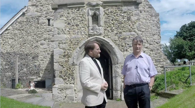 Christoph Bull and Revd Nigel Bourne at St Mary's Church Chalk