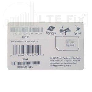 Cradlepoint LP6 Sprint SIM Card SIMGLW106Q 2FF 170638-001